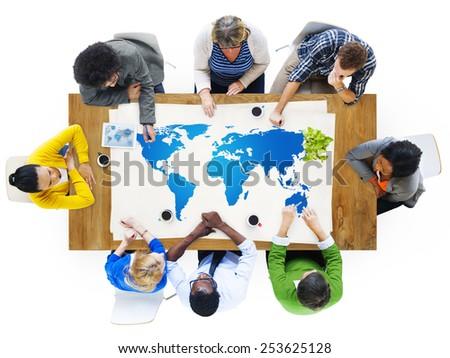 World Map Global Business International Concept - stock photo