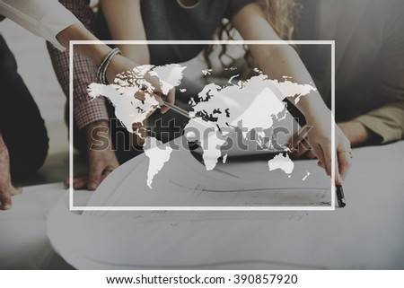 World Map Globalization Cartography Geography Connection Concept - stock photo