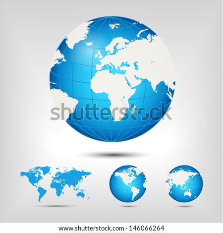 World map. Globe. Earth. Planet. Raster version. Vector version available in my portfolio. - stock photo