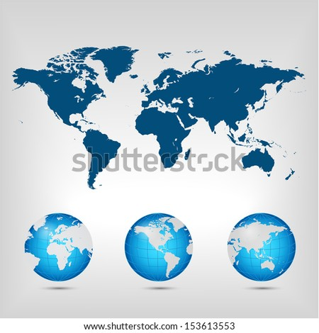 World map. Globe. Earth. Planet. This is Raster version.