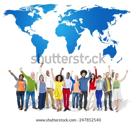 World Map Globe Global Business Concept - stock photo