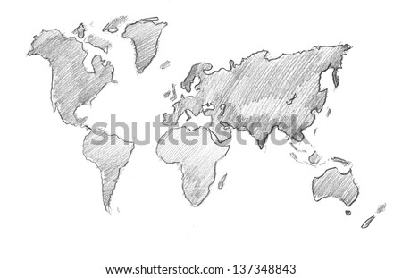 World map globe pencil drawing stock illustration 137348843 world map globe pencil drawing gumiabroncs Images