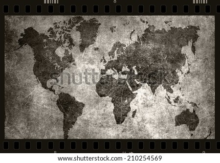 World map grunge background black white stock illustration 210254569 world map grunge background as black and white photo film gumiabroncs Gallery