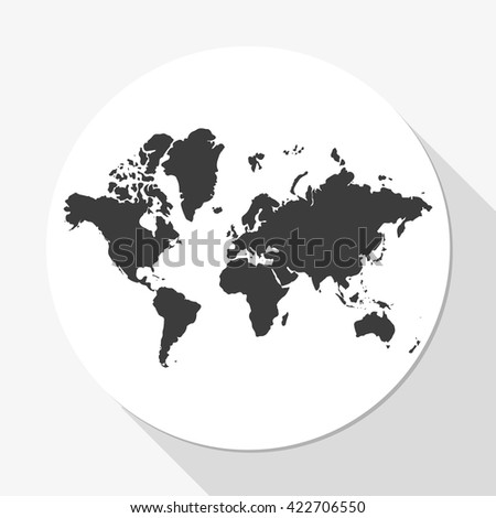 World map icon. - stock photo