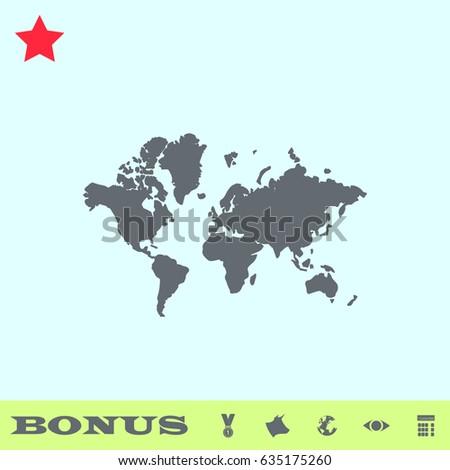 World map icon flat simple gray stock illustration 635175260 world map icon flat simple gray pictogram on blue background illustration symbol and bonus gumiabroncs Images