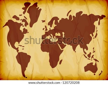 world map illustration on old paper background (world map illustration on grungy old paper) - stock photo