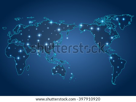 world map illustration with glowing points and lines - stock photo