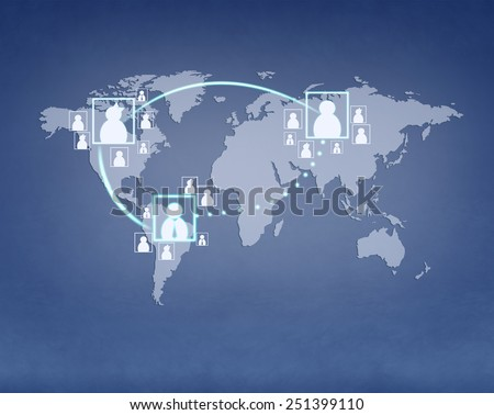 World map image. Purple background