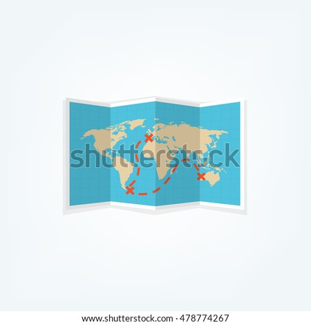 World map in a flat style. Earth, globe. Navigation. Route and destination. Icon