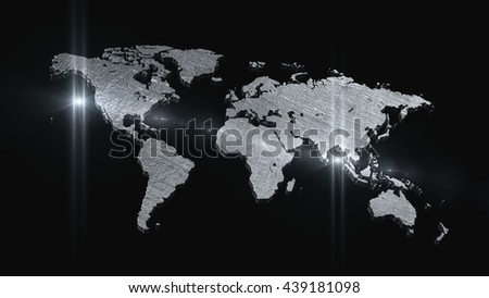 World map in space 3D render - stock photo
