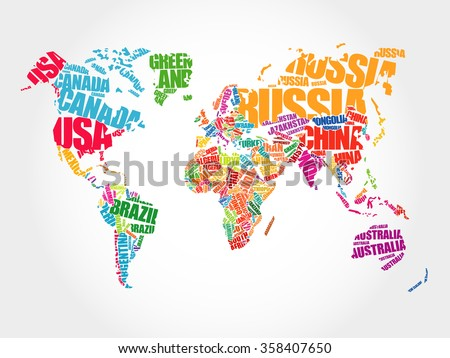 World Map in Typography word cloud concept, names of countries - stock photo