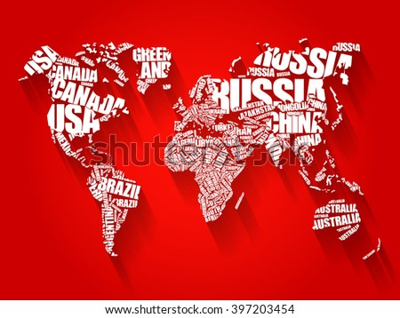 World Map in Typography word cloud concept, names of countries, flat style design background - stock photo