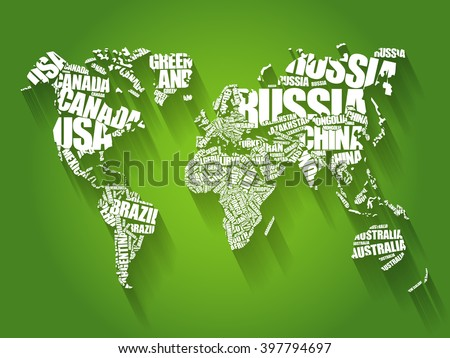 World map with country names stock images royalty free images world map in typography word cloud concept names of countries flat style design background gumiabroncs