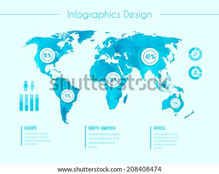 World map infographic template showing the demographic areas Europe  North America  Africa with proportionate percentages of statistics and text columns in blue - stock photo