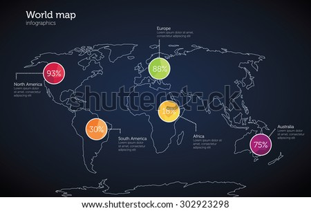 World map infographics template - stock photo