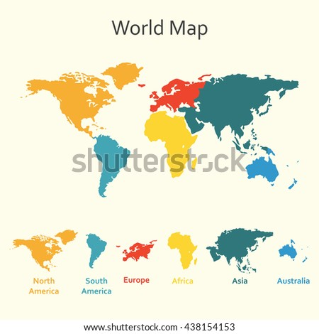 World map infographics. Template of world map with continents.