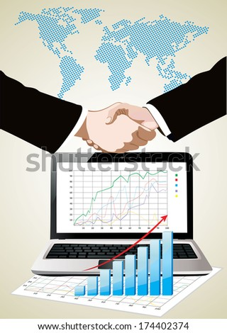 World map, laptop showing a spreadsheet with some 3d charts over it and handshake - stock photo