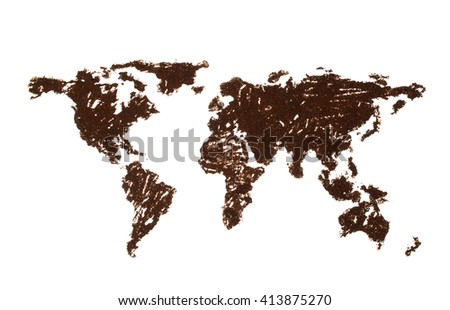 World map lined with coffee on white background - stock photo