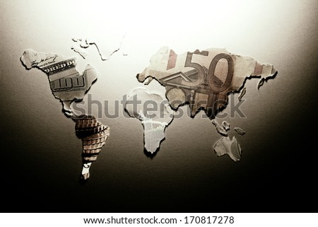 World map made from paper. - stock photo