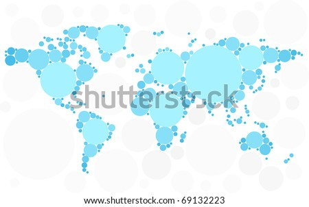 World map made of blue bubbles. Raster version. Vector version is also available. - stock photo