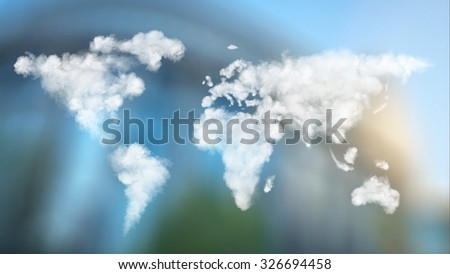 World map made of clouds against European Parliament in Brussels, Belgium. Header for website - stock photo