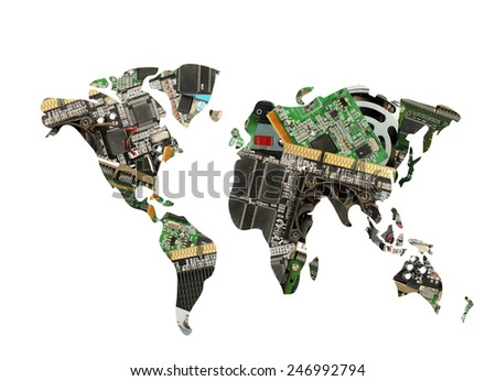 World map made of electronic waste as pollution concept - stock photo