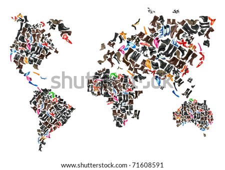 World map made of hundreds of othe shoes - stock photo