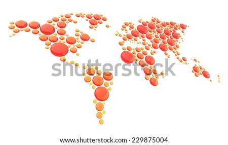 World map made of multiple red and orange glossy dimensional round glass shapes, composition isolated over the white background - stock photo