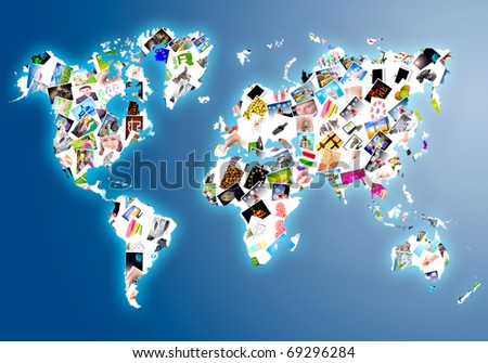 World map made of several photos - stock photo