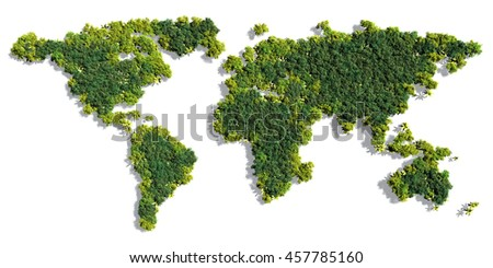 World map made up of various detailed trees on solid white background including the shadows. This 3D illustration of a forest is conceptual of the global green environmental issues worldwide - stock photo