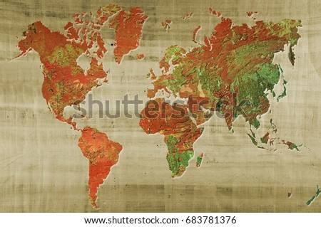 World map made artistic oil colors stock illustration 683781376 world map made with artistic oil colors on papyrus background elements of this image furnished gumiabroncs Choice Image