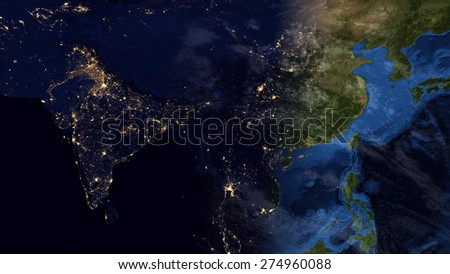 World Map Montage - Asia Day & Night Contrast (Public Domain Maps furnished by NASA) - stock photo