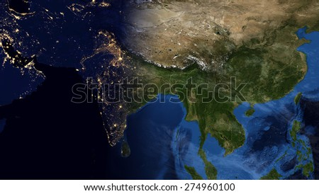 World Map Montage Asia Day Night Stock Illustration 274960100 ...