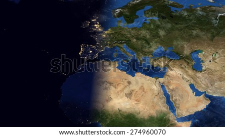 World Map Montage - Europe Day & Night Contrast (Public Domain Maps furnished by NASA) - stock photo