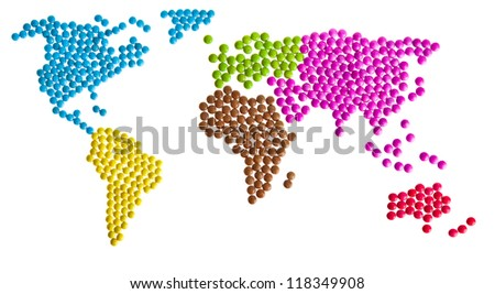 World map of candy - stock photo