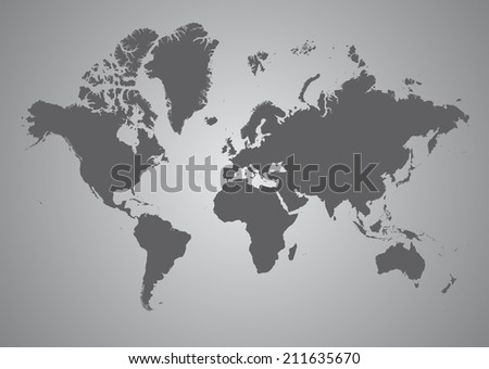 World Map of continents, gray - stock photo