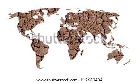 world map of dry land on white background - stock photo