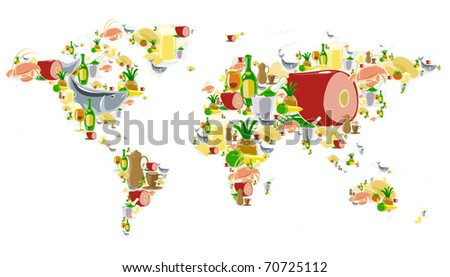 World map of food and drinks icons. Raster version. Vector version is also available. - stock photo
