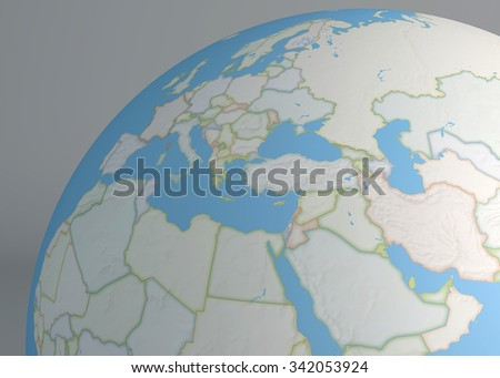 World map of Middle East, Europe and north Africa - stock photo