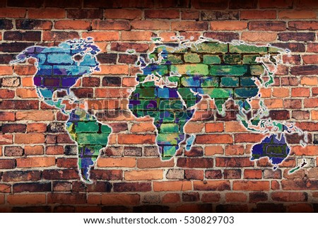 World map on background brick wall stock illustration 530829703 world map on a background of a brick wall gumiabroncs Choice Image
