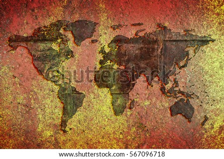 World map grunge background stock photo 530690263 shutterstock world map on a background of rust and yellow colored stone gumiabroncs Gallery