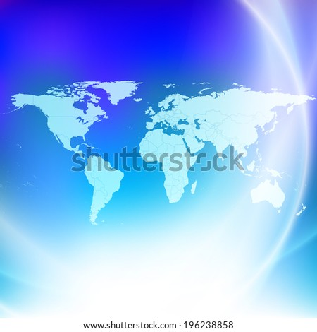 World map on a blue background illustration