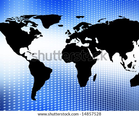 world map on a bright blue background