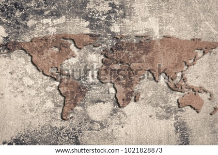 World map on cracked stone wall stock photo royalty free world map on a cracked stone wall background grunge style gumiabroncs Gallery