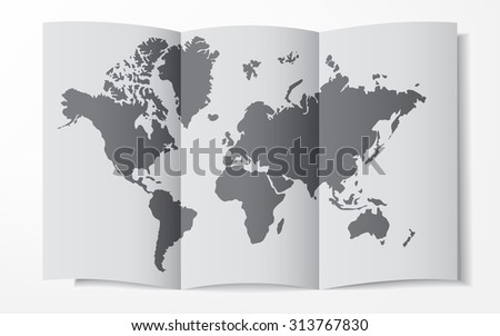 World map on a folded sheet of paper - stock photo