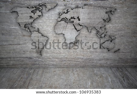 world map on a grunge & stone wall