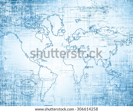 World map on a technological background - stock photo