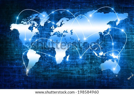 World map on a technological background. Best Internet Concept of global business from concepts series