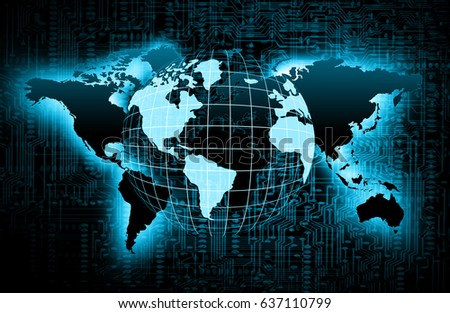 World map on technological background glowing stock illustration world map on a technological background glowing lines symbols of the internet radio gumiabroncs Image collections