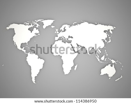 World map on black and white - stock photo